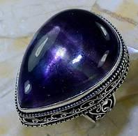 Флюорит кольцо с натуральным флюоритом в серебре 18.75-19  размер Индия, фото 1