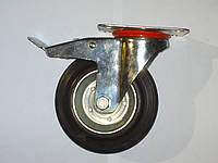 Колесо поворотное с крепёжной панелью и тормозом d=160