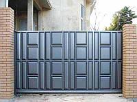 Откатные ворота 4000х2000 заполнение филенка , фото 1