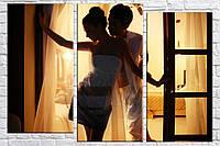 Картина модульная HolstArt Пара у окна 80*118см 3 модуля арт.HAT-214