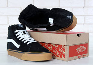 Мужские зимние кеды Vans Old Skool high CANVAS SK8-HI с мехом, vans old school, ванс олд скул, фото 3