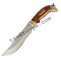 Нож охотничий Спутник Вепрь с рисунком (ручная работа Украина), эксклюзивный, подарочный, кожаные ножны