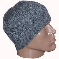 Вязаная мужская шапка спортивного силуэта (утепленный вариант)