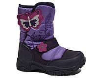 Термоботинки B&G-Termo арт.171-6022 бабочка, фиолетовый, Фиолетовый, 23, 15.0