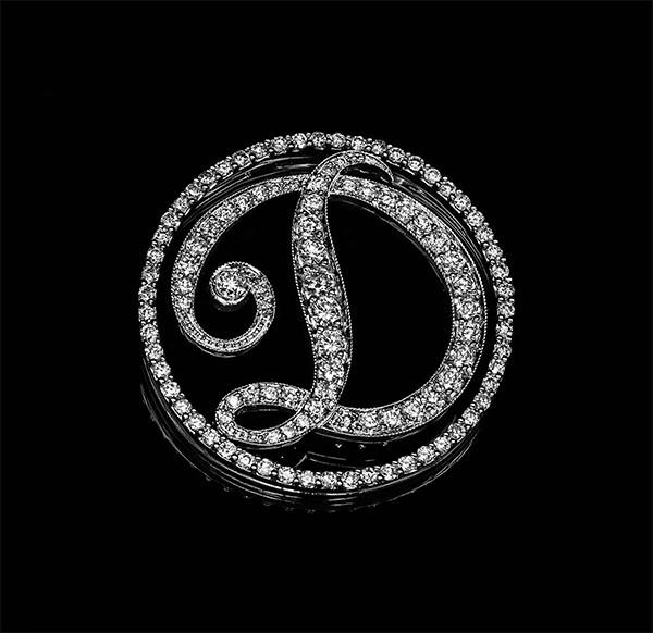 Жіночий кулон з білого золота з діамантами С20Л1№22