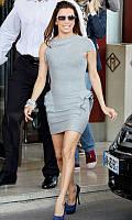 Оригинал 100% с бирками. Женское бандажное платье Herve Leger серого цвета с воланами HL70086