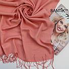 """Турецкий однотонный кашемировый шарф """"Адель"""" (персик), фото 2"""