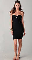 Оригинал. Все в наличии. Женское бандажное платье Herve Leger черного цвета с плетением на груди HL70453