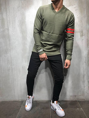 Пуловер мужской оливковый, фото 2
