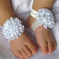 Повязочки для новорожденных белые на голову и ножки