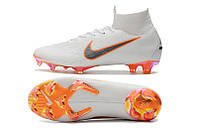 Футбольные бутсы Nike Mercurial Superfly VI 360 Elite FG White/Metallic Cool Grey/Total Orange