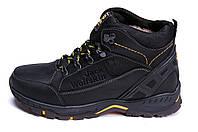 Мужские зимние кожаные ботинки Jack Wolfskin Black (реплика), фото 1