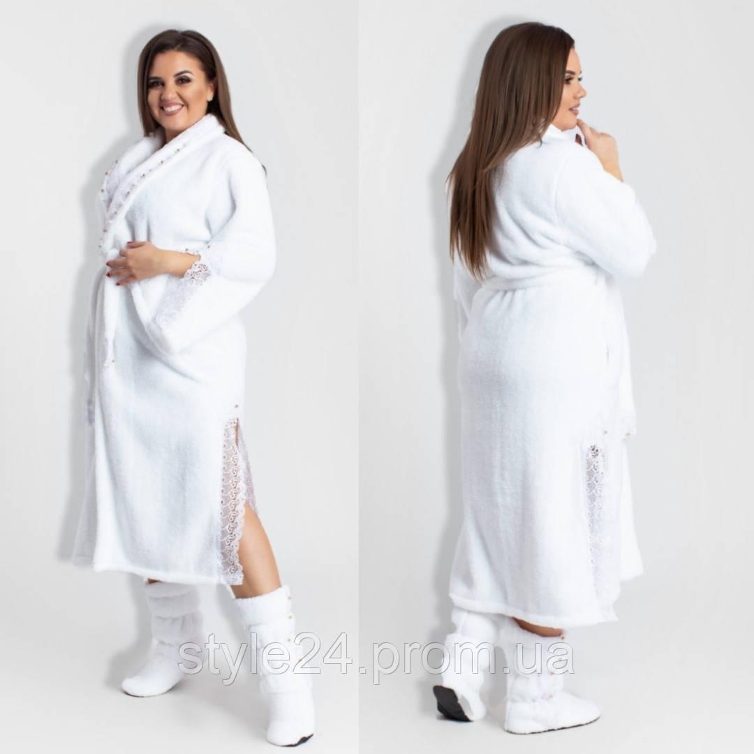 ЖІночий махровий халат з кружевом та тапочками в комплекті.Р-ри 42-52