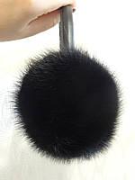 Норковые наушники из цельной норки. Цвет чёрный