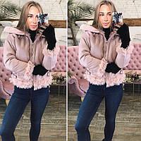 Розовая куртка из эко-кожи с мехом