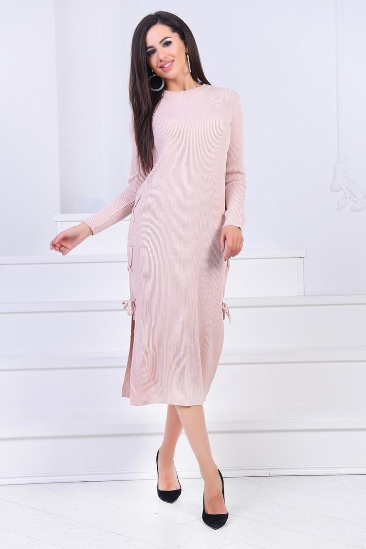 красивое женское длинное вязаное платье платье 42 46р3асцв
