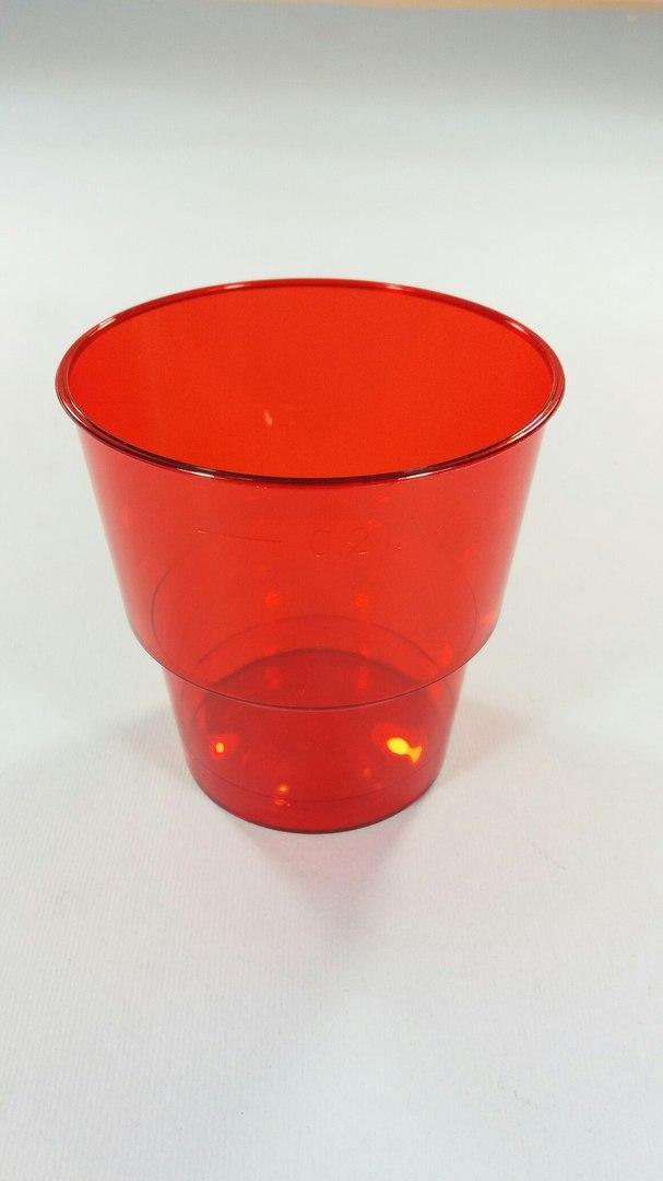 Стакан 200 мл стеклоподобный красный, 25 шт/пач