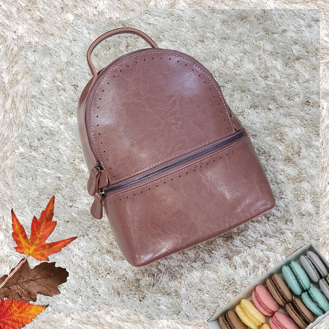 Рюкзак  темно розовый из натуральной кожи