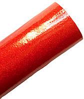 Кожзам экокожа Красная с глиттером лакированая искусственная кожа ткань 20x30 см 1 шт, фото 1