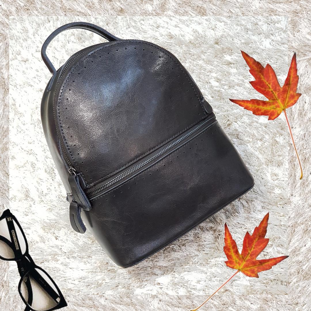Рюкзак серый из натуральной кожи