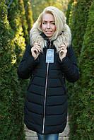 Зимняя женская куртка черная модная арт Eva