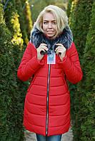 Женская куртка зимняя красная арт Eva