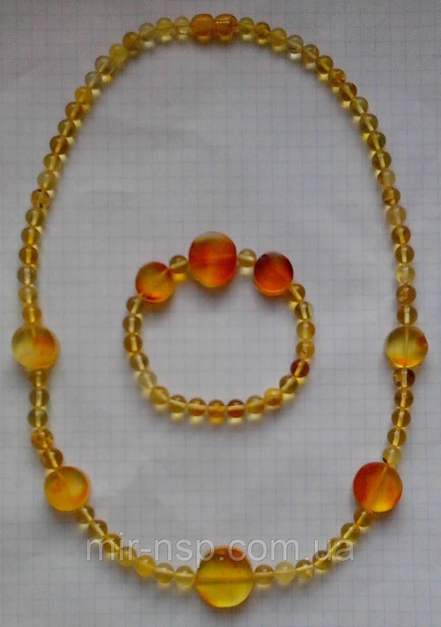 Бусы и браслет натуральный цельный природный янтарь шар 6-7 мм вес 22г