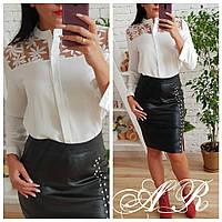 Стильная белая блузка из крепа с кружевом, фото 1