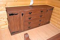 Комод из массива сосны под старину ( с декором кованных элементов)