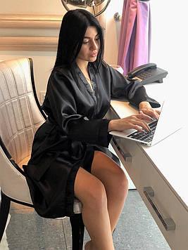 Элегантный черный халат из атласа, женская домашняя одежда ТМExclusive