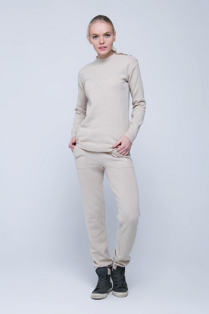 SEWEL Вязаный костюм SC411 (46-48, соломенный, 60% акрил/ 30% шерсть/ 10% эластан)