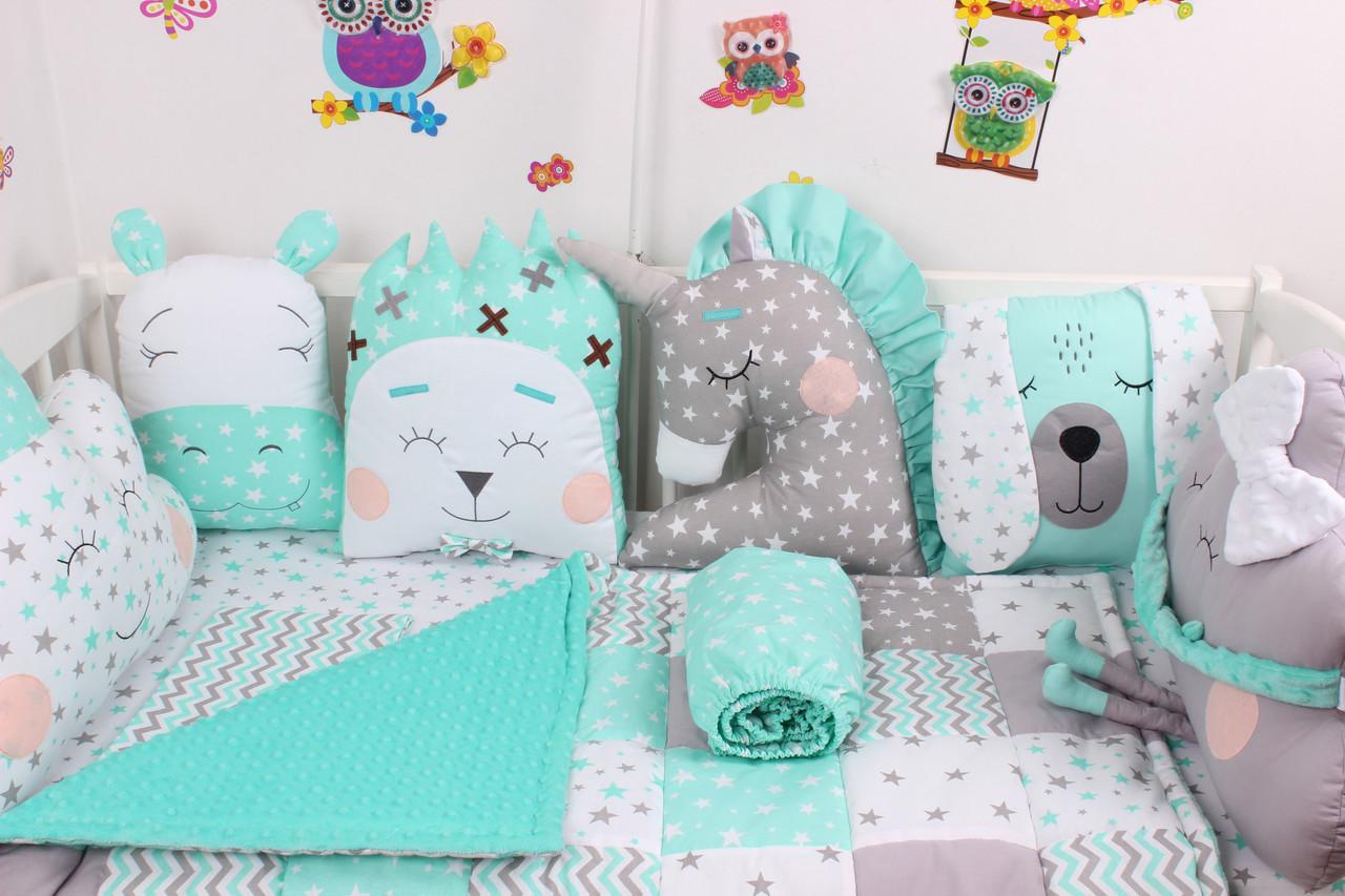 Комплект в детскую кроватку с зверюшками