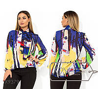 b58813b0a3366bb Шифоновая блуза с принтом акварель, воротником-галстук, длинными рукавами