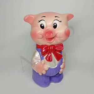 Подарункова скарбничка свинка з бантиком 20 см
