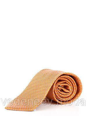 Галстук оранжево-серый в диагональные полоси из кружков