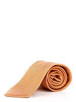 Галстук оранжево-серый, шелковый в диагональные полоси из кружков