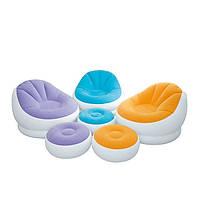 Надувное кресло-велюр с пуфиком Intex