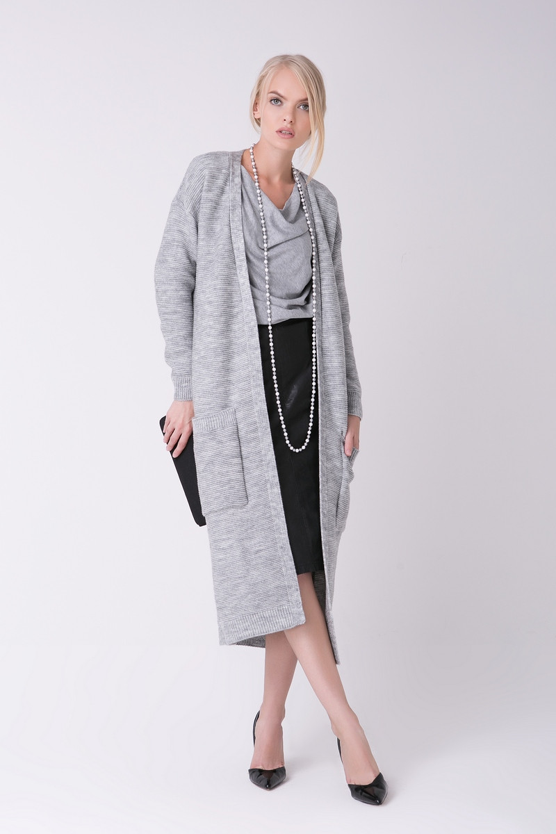 SEWEL Пальто CW465 (42-44, светло-серый меланж, 60% акрил/ 30% шерсть/ 10% эластан)