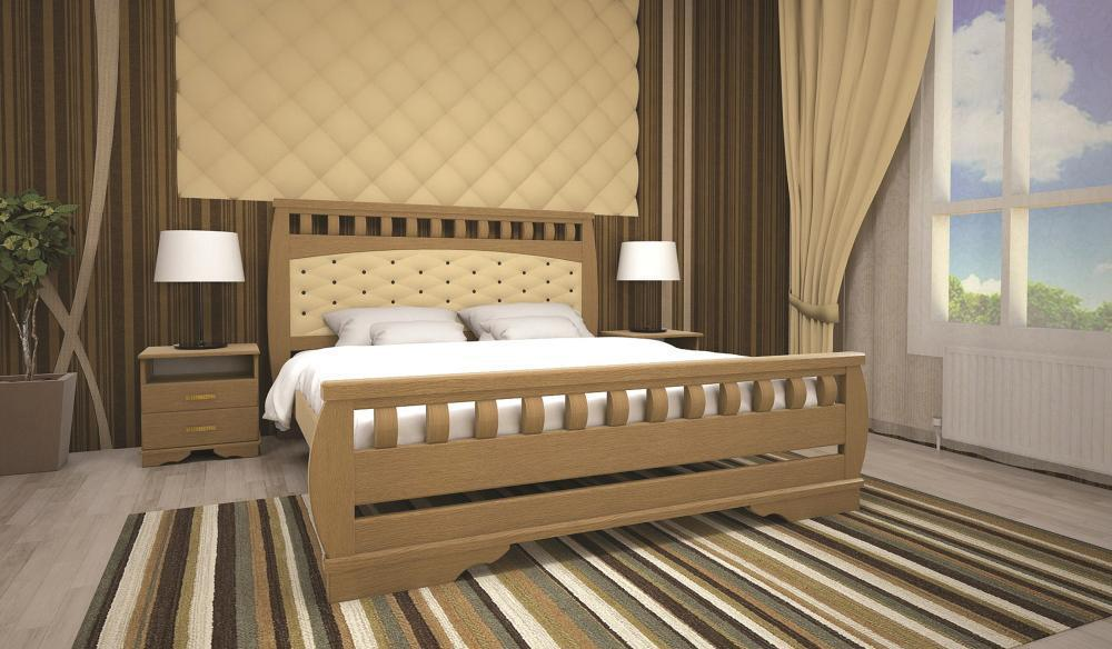 Кровать полуторная с натурального дерева в спальню ТИС АТЛАНТ 11 120*190 сосна