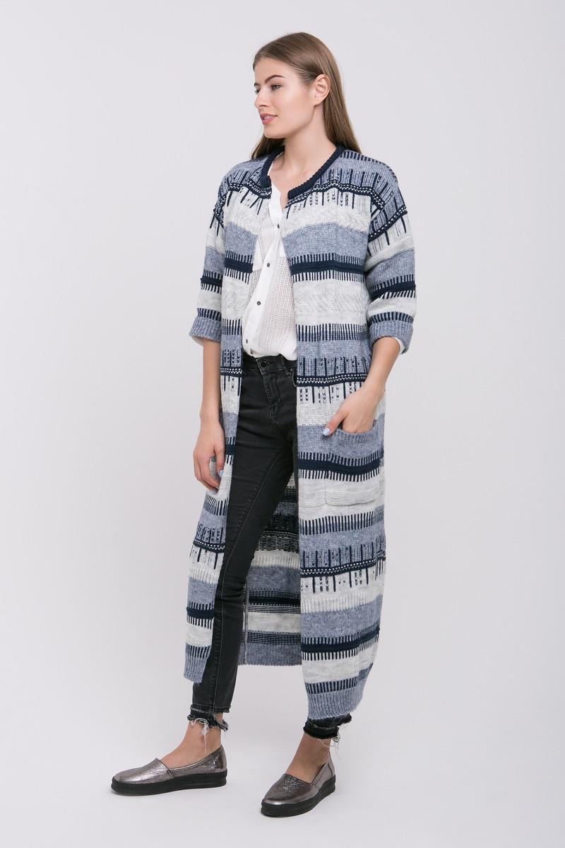 SEWEL Пальто CW428 (46-48, серый меланж, светло-серый, синий, 70% акрил/ 30% шерсть)