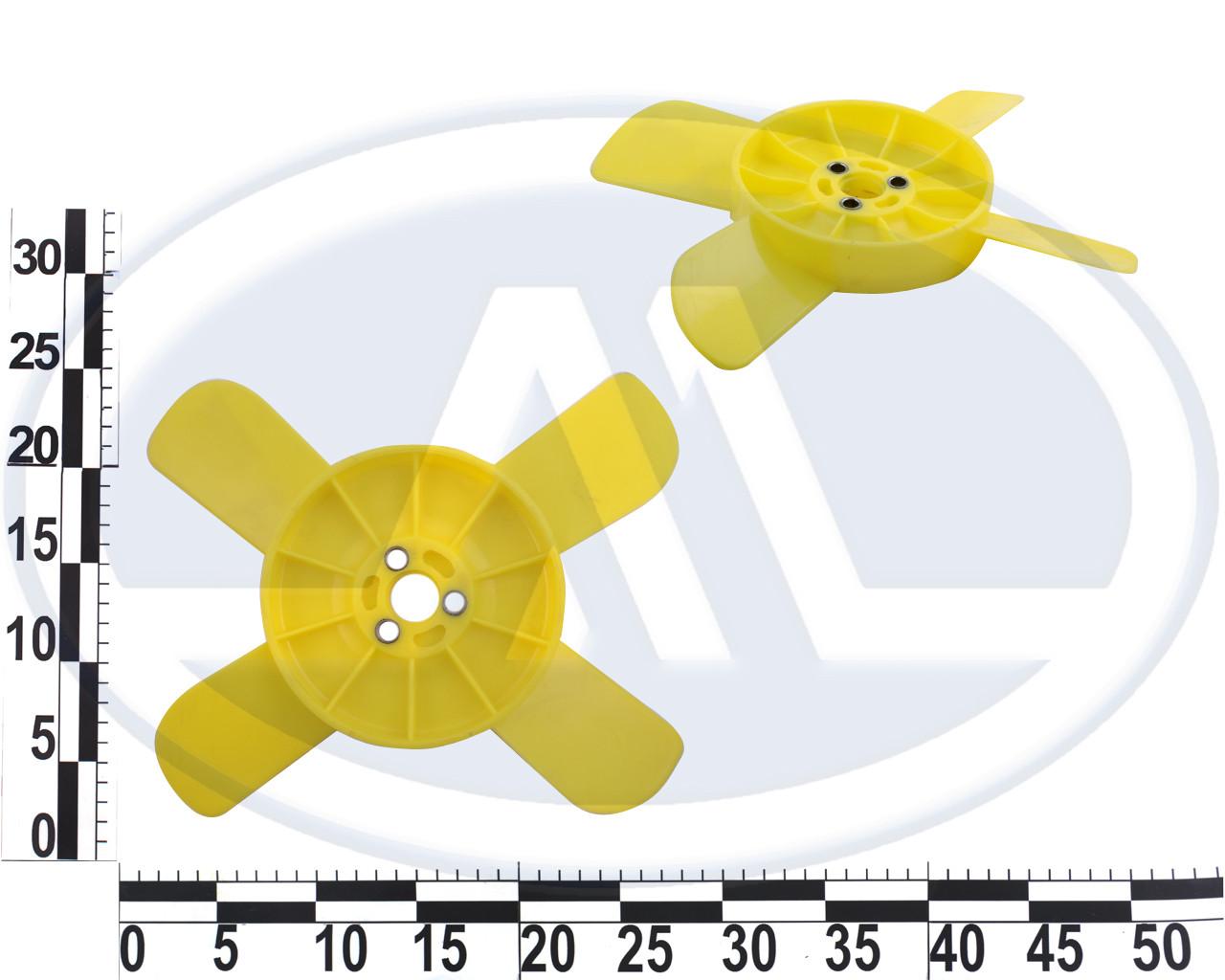 Крыльчатка вентилятора 2101-2107 желтая с металлической втулкой