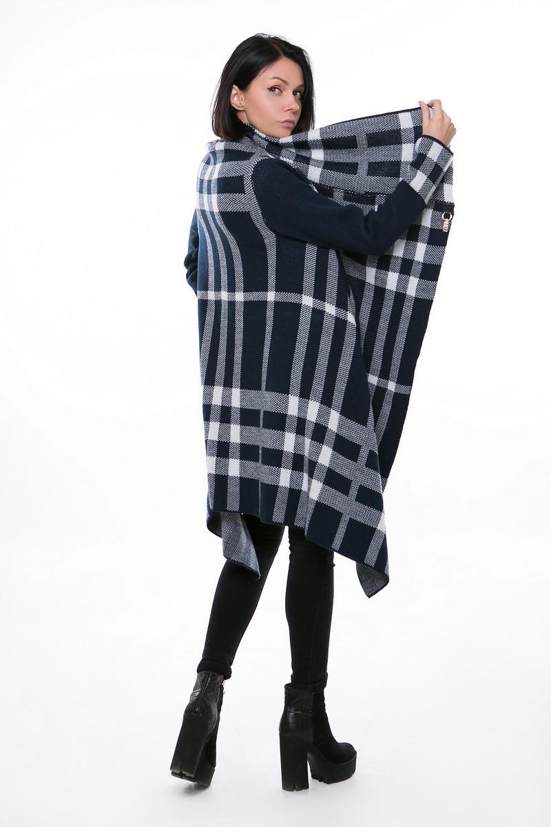 SEWEL Пальто CW373 (46-48, синий , белый, 60% акрил/ 30% шерсть/ 10% эластан)