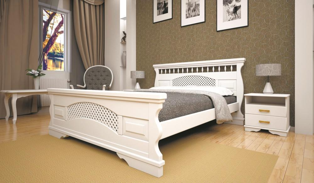Кровать полуторная с натурального дерева в спальню ТИС АТЛАНТ 23 120*190 сосна