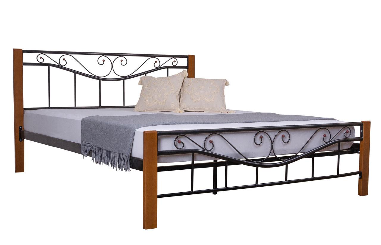 Кровать Эмили двуспальная  200х140, бордовая