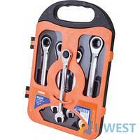 Набір ріжково-накидних ключів Miol - 5шт з тріскачкою (10-17мм)