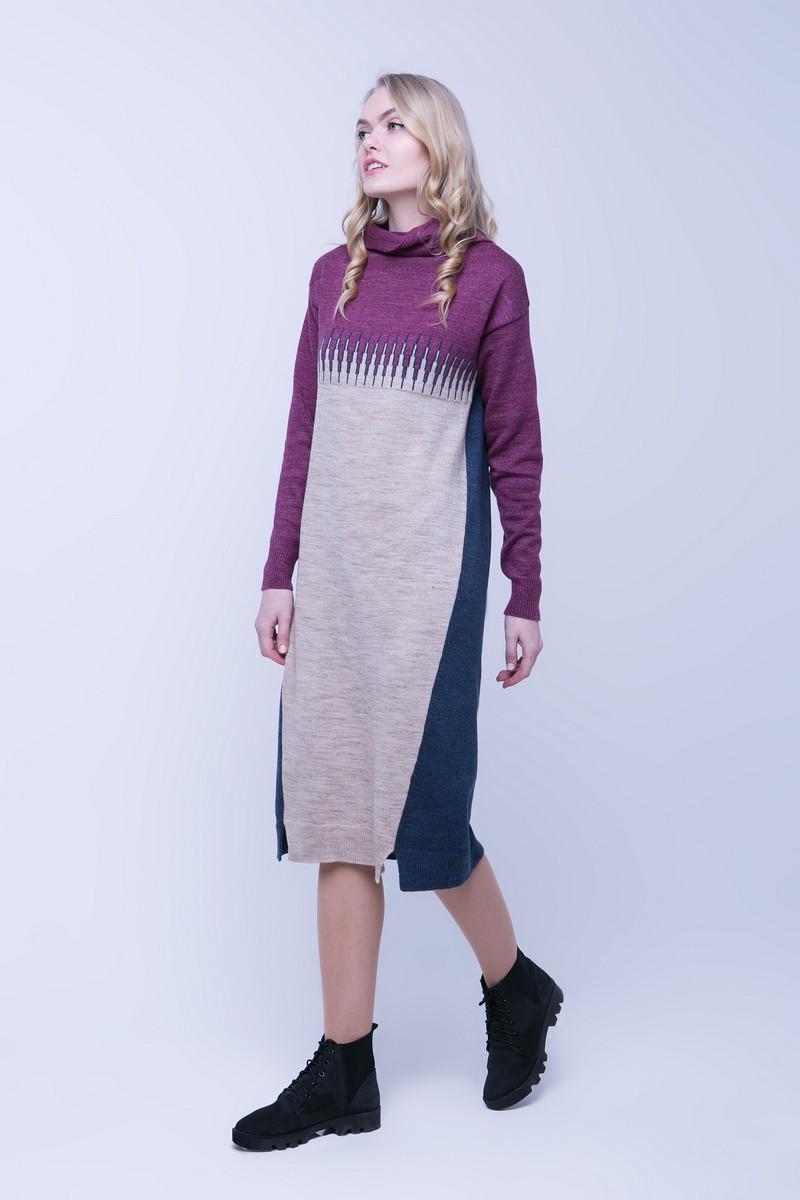 SEWEL Платье PW389 (50-52, синий , кемел, фуксия, 60% акрил/ 30% шерсть/ 10% эластан)