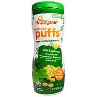 Органическое детское питание, паффсы, фрукты и зерновые, капуста и шпинат (60 г) Nurture Inc. (Happy Baby)