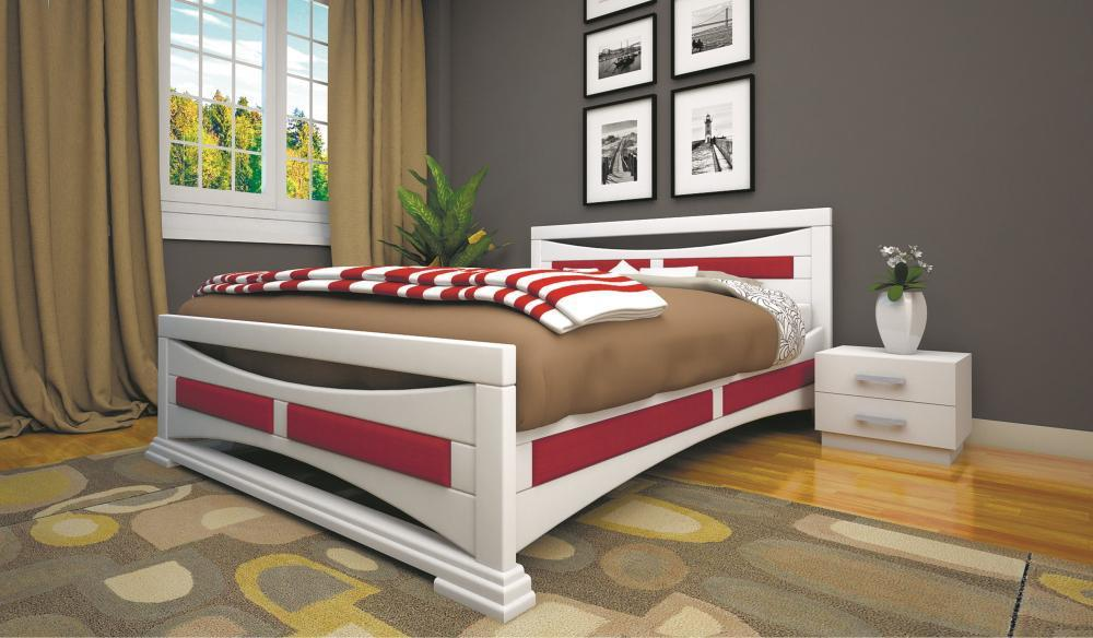 Кровать полуторная с натурального дерева в спальню ТИС ЕЛЕГАНТ 5 120*190 сосна
