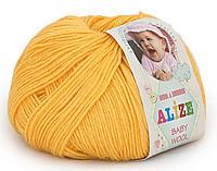 Детская пряжа Alize Baby Wool желтый №216