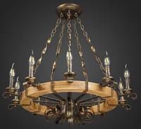 Люстра кантрі зі свічками у вигляді колеса AR-004450 10 ламп